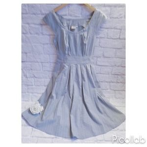 eShaki Blue/White Fit and Flare Dress